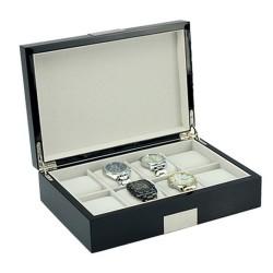 Klocklåda / klockbox för 8 klockor, svart med metall dekoration