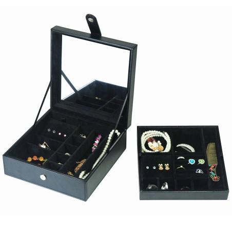 LINDENÆS smyckeskrin i svart läder och svart interior - för många smycken
