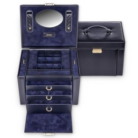 SACHER Marta stor lyx smyckeskrin av äkta blå italiensk läder