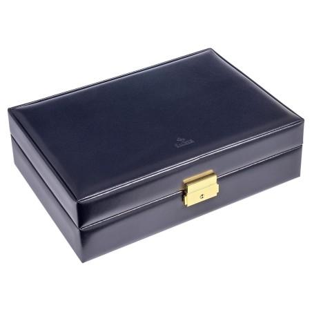 SACHER lyx klocklåda / klockbox i äkta blå läder - förvar 10 klockor