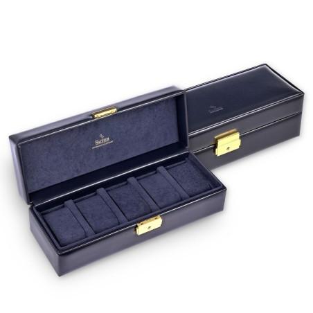 SACHER lyx klocklåda / klockbox i äkta svart läder - förvar 5 klockor
