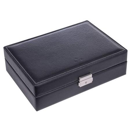 SACHER lyx klocklåda av äkta svart läder - för 10 klockor