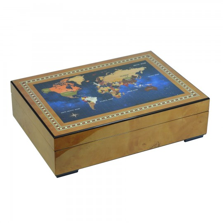 Lyx klocklåda / klockbox i lackerat trä förvar 6 klockor och smycken