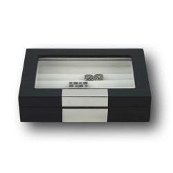 LINDENÆS manschettknapp box / smyckeskrin i äkta svart träfaner