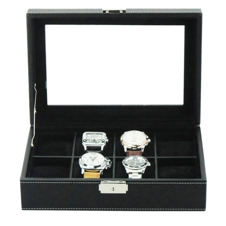 Klocklåda / klockbox för 8 stora klockor, svart PU läder