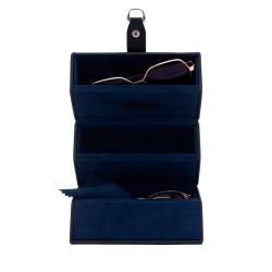 Friedrich glasöganfodral för 3 glasögon - svart läder
