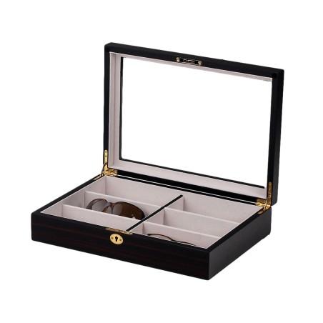 Glasögan box för 6 solglasögon / glasögon - ebenholts finis