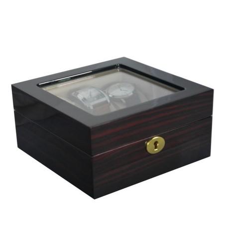 Klocklåda / klockbox av ebenholts trä för 6 klockor