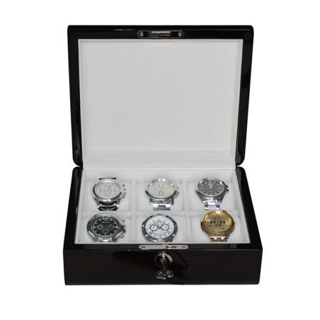 Klocklåda / klockbox för 6 klockor, lackerad ebenholts