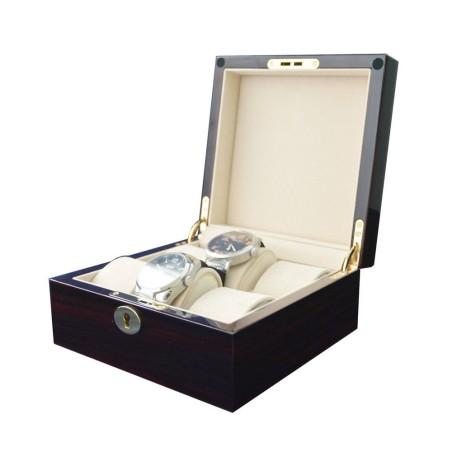 Klocklåda / klockbox för 6 klockor, lackerad ebenholts med dekoration