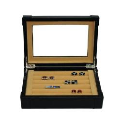 Smyckeskrin av svart kunstläder, för 25 manschettknappar och ringar