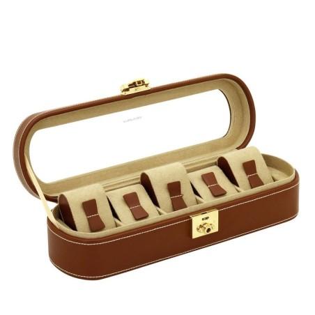 Friedrich klockbox / klocklåda av äkta brun läder, för 5 klockor