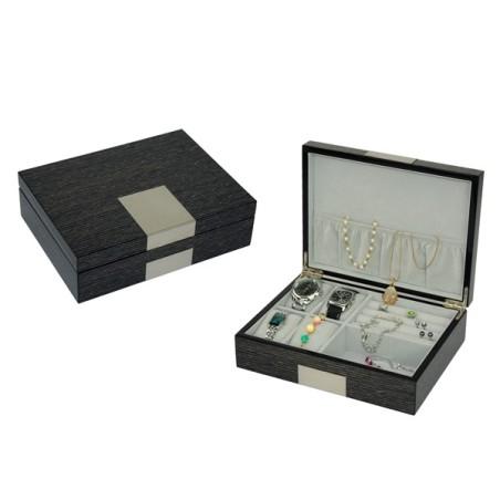 Smyckeskrin / klockbox i askaträ för smycken och klockor