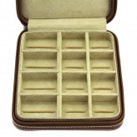 Smyckeskrin av äkta brun läder - förvaring av smycken, manschettknappar