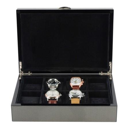 Klocklåda / klockbox för 8 klockor, lackerad trä i kolfiber look