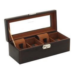 Klocklåda / klockbox av rustik brun läder - förvaring av 4 klockor