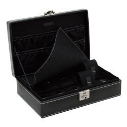 Friedrich klockbox / klocklåda för 10 klockor av äkta svart läder