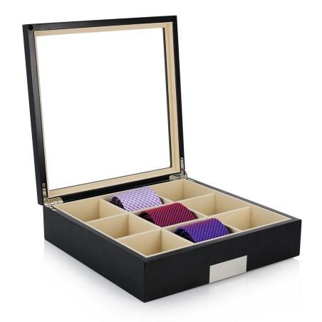 Slipslåda / slipsbox för 9 slipsar, svart träfaner med fönster