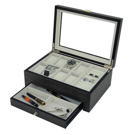 Klocklåda / klockbox för 8 klockor - äkta Ginkgo tempelträd