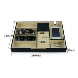 smyckeskrin / smycken bricka i svart kolfiber look med 8 rum