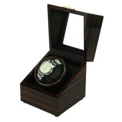 Watch winder /klockuppdragera av ebenholts för 1 klocka