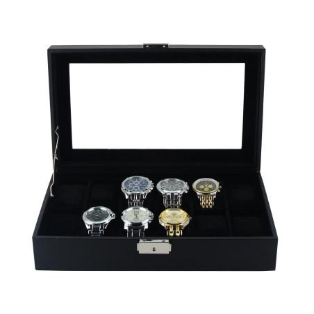 Klocklåda / klockbox för 12 klockor - svart läder + svart interiör