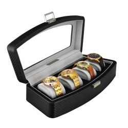 Klocklåda / klockbox i svart kolfiber look, för 4 klockor