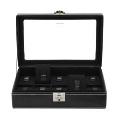 Friedrich klocklåda / klockbox för 10 klockor, äkta svart läder med fönster