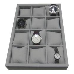 Klockbricka / klocklåda för 12 klockor, grå sammet