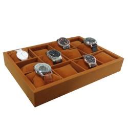Klockbricka / klocklåda för 12 klockor, brun sammet