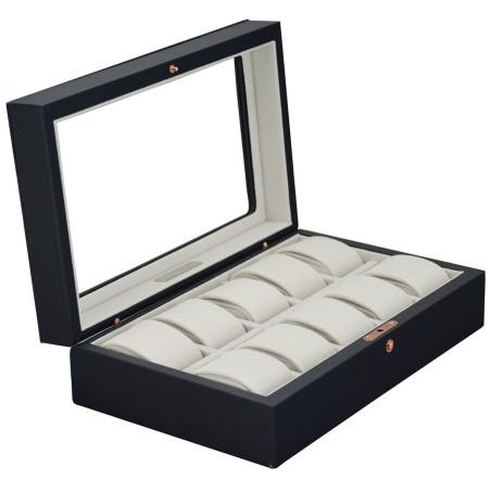 Klocklåda / klockbox av mörkblå läder med fönster - för 10 klockor