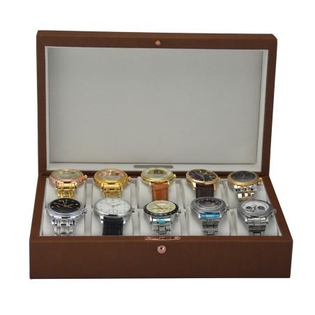 Klocklåda / klockbox för 10 klockor - konjak brun läder