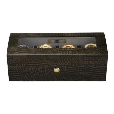 Klocklåda / klockbox för 4 klockor - högglansig trä