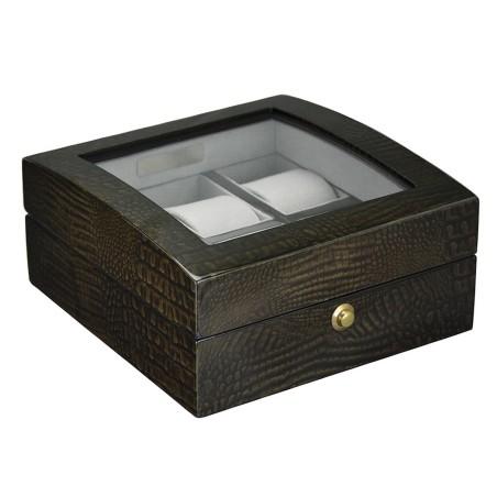 Klocklåda / klockbox med fönster för 6 klockor - högglansig trä