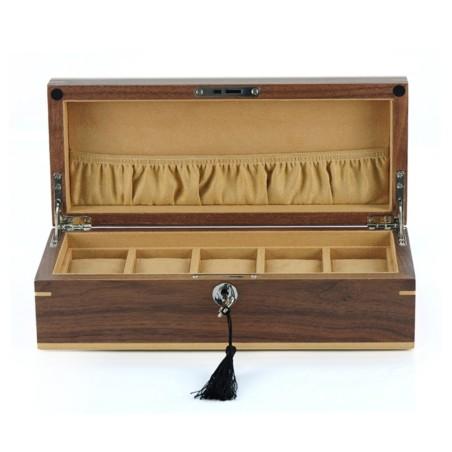 Klockbox / klocklåda för 5 klockor - äkta valnöt träd