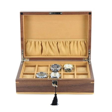 Klockbox / klocklåda för 10 klockor - äkta valnöt träd