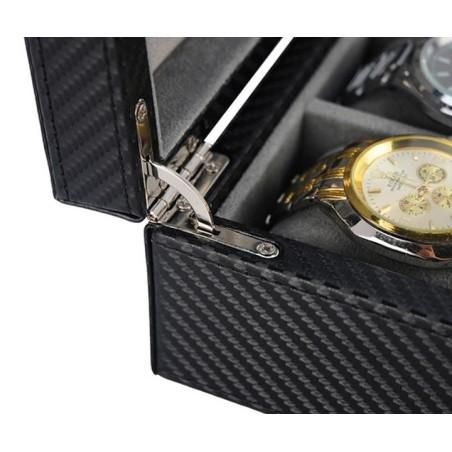 Klockbox / smyckeskrin i svart kolfiber look - 4 klockor + smycken