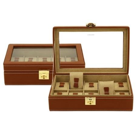 Friedrich klockbox / klocklåda för 10 klockor av äkta brun läder