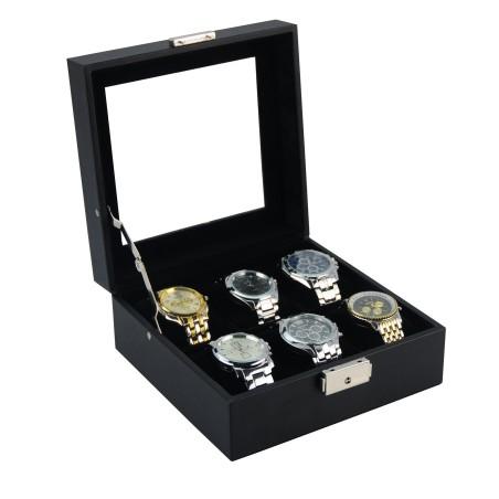 Klocklåda / klockbox för 6 klockor i svart läder och svart interiör