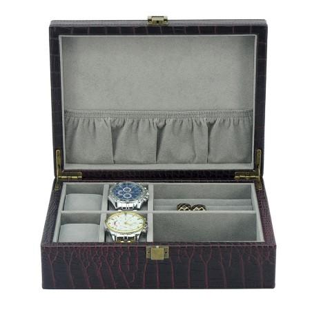 Urboks / smykkeskrin i sort carbon fiber look - 4 ure + smykker
