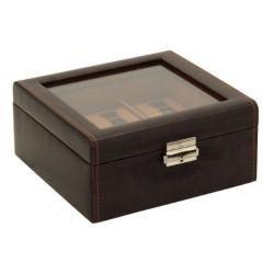 Klocklåda / klockbox av rustik brun läder - förvaring av 6 klockor