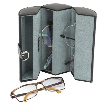 Glasöganfodral för 3 glasögon - svart läder