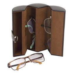 Glasöganfodral för 3 glasögon - brun läder