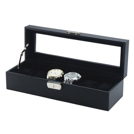 Klockbox / klocklåda för 6 klockor, svart läder och svart inredning