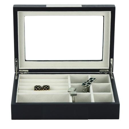 Manschettknapp box / smyckeskrin i äkta svart träfaner