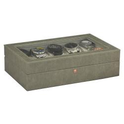 Klocklåda / klockbox av grå läder med fönster för 10 klockor