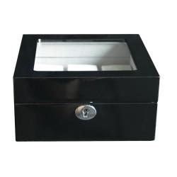 Klocklåda / klockbox i svart trä med fönster - för 6 klockor