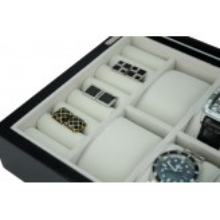 Klocklåda / Smyckeskrin i svart trä för 8 klockor och smycken