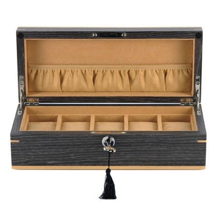 Klockbox / klocklåda för 5 klockor - äkta Ginkgo tempelträd