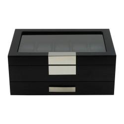 Klocklåda / klockbox för 10 klockor i matt svart träfaner med låda